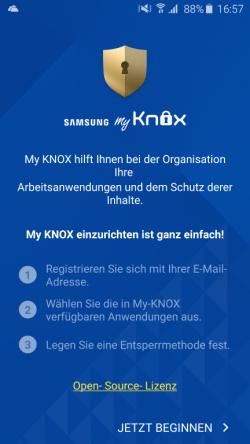 Mit einem Assistenten richten Anwender in der kostenlosen Version My Knox ein. Dazu wird lediglich eine E-Mail-Adresse benötigt (Screenshot: Kai Schmerer).