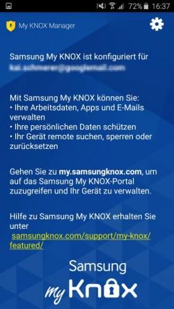 Der Samsung Knox-Assistent hat seine Aufgaben erledigt und weist Anwender auf das Internetportal hin (Screenshot: Kai Schmerer).