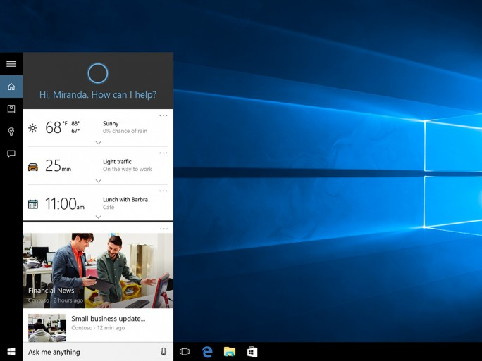 Cortana in Windows 10. (Bild: Microsoft)