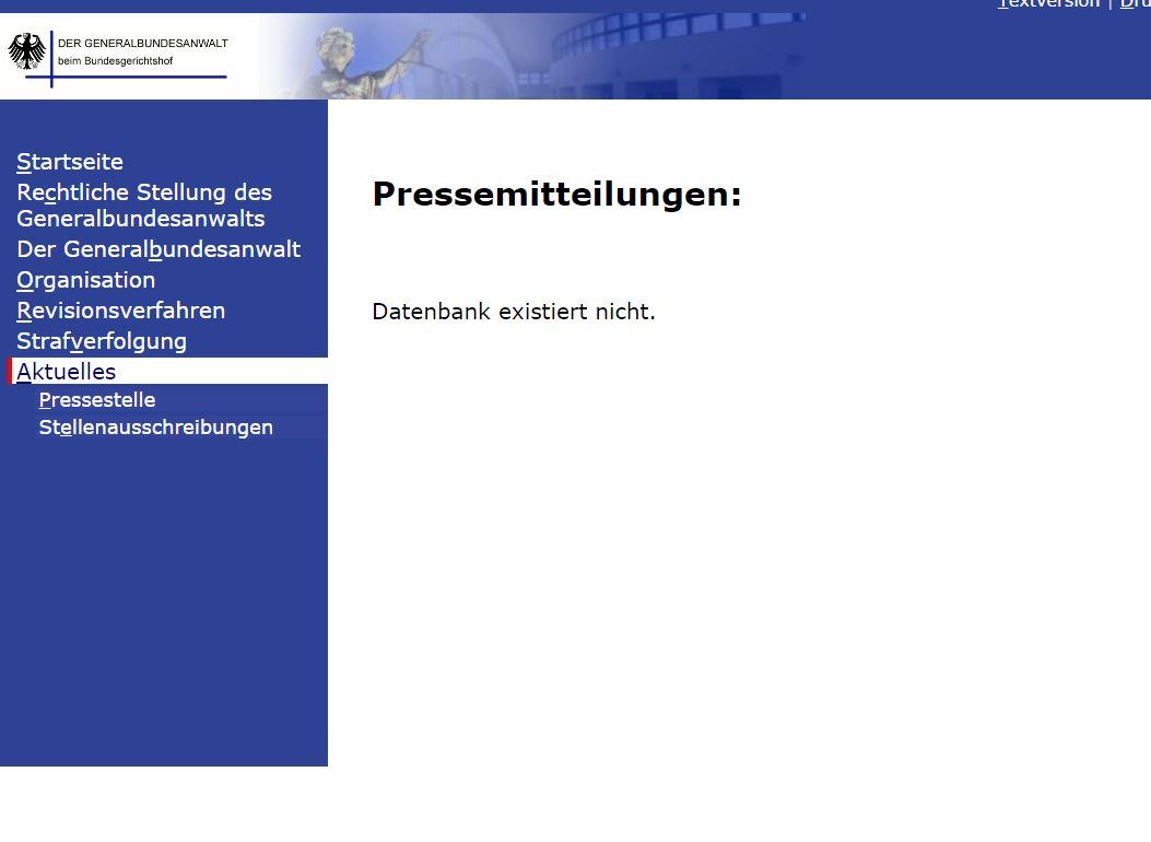 Hacker haben Teile der Bundesnawaltschaft lahm gelegt und auch Daten veröffentlicht. So können keine Pressemitteilungen mehr aufgerufen werden. (Screenshot: silicon.de)