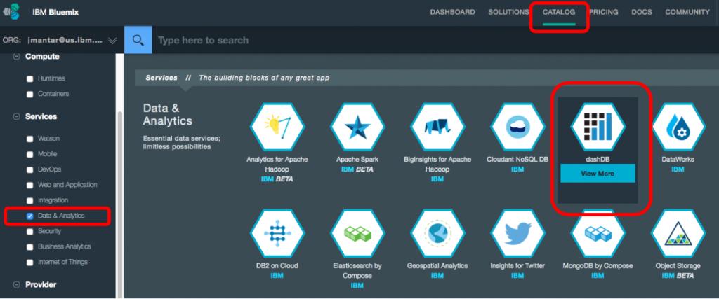 Auswahl dashDB in BlueMix. (Bild: IBM)