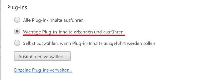Chrome spielt Flash-Anzeigen standardmäßig nicht mehr ab (Screenshot: silicon.de)
