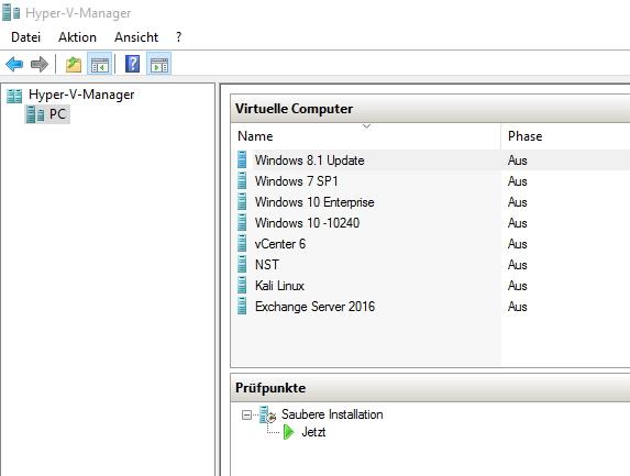 Ab Windows 10 Pro lässt sich auf Arbeitsstationen auch Hyper-V nutzen. Hier stehen die gleichen Neuerungen zur Verfügung, wie auch in Windows Server 2016 (Screenshot: Thomas Joos).