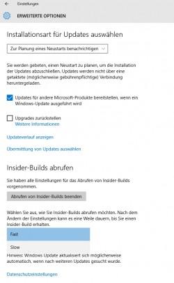 In den Einstellungen für Windows Update können Administratoren den Verteilungsring für Aktualisierungen festlegen (Screenshot: Thomas Joos).