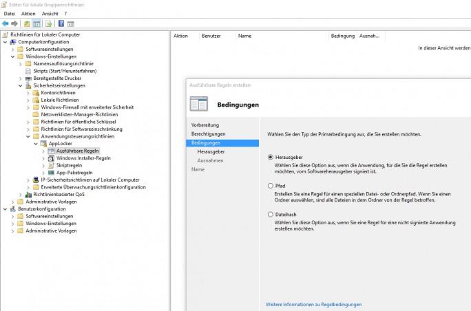 Applocker kann unberechtigte Anwendungen im Unternehmen blockieren (Screenshot: Thomas Joos).