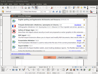 Der Extensions-Manager in der Textverarbeitung Writer in LibreOffice 5.0. (Bild: TDF)