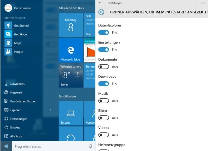 Ordner im Startmenü anzeigen (Screenshot: ZDNet.de)