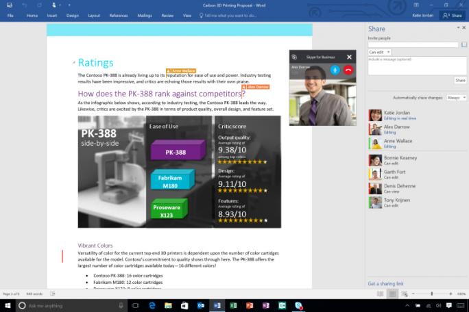 Office 2016 soll vor allem das gemeinsam Bearbeiten von Dokumenten erleichtern. (Bild: Microsoft)