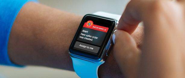 Die Apple Watch kann nun auch für Business-Anwendungen wie Infor Ming.le genutzt werden. Allerdings weist Apple derzeit noch keine Stückzahlen aus. (Bild: Infor)