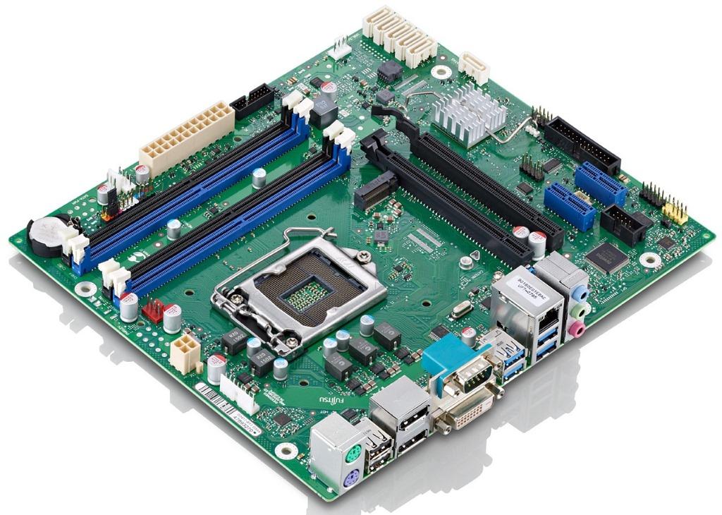 Das Fujitsu D3417-B ist mit dem Intel-Chipsatz C236 ausgestattet. Neben sechs SATA-6G-Anschlüssen bietet es einen Steckplatz für eine M.2-SSD mit SATA- oder PCIe-Controller. Für die Grafikausgaben stehen zwei DisplayPorts parat.  (Bild: Fujitsu)