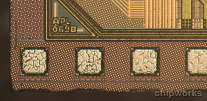 Detailaufnahme des Apple A7-Prozessors. (Bild: Chipworks)