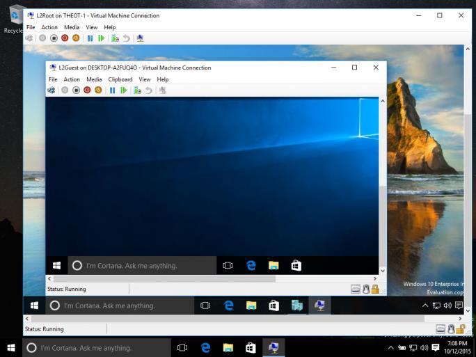 Die Desktop-Ansicht mit Nested Virtualization. (Bild: Microsoft)
