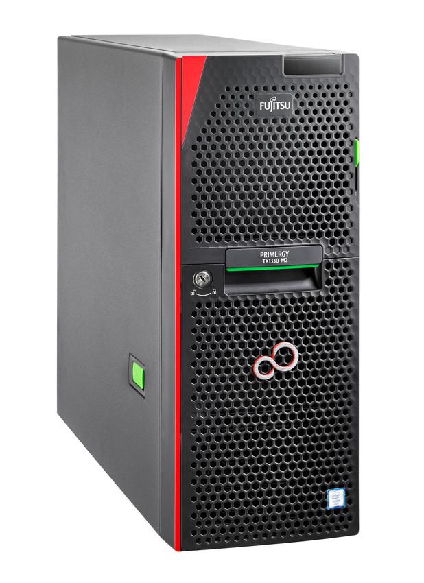 Fujitsu Primergy TX1330 M2 ist mit Xeon-CPUs der Reihe E3-1200v5 und bis zu 64 GByte DDR4-RAM und 24 Storage-Laufwerken aufgerüstet werden. (Bild: Fujitsu)