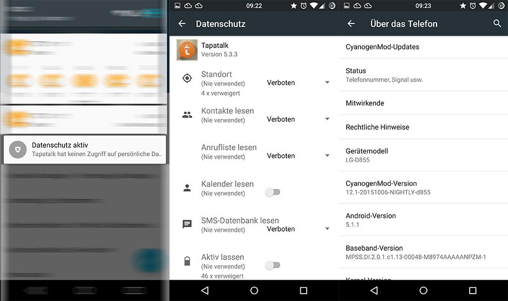 CyanogenMod erlaubt die Kontrolle von App-Berechtigungen. Damit können Nutzer den Zugriff von Apps auf persönliche Daten unterbinden.Startet man eine App, für die man den Zugriff auf persönliche Daten nicht gewährt hat, wird dies in der Benachrichtigungszentrale angezeigt (Bild: ZDNet.de).