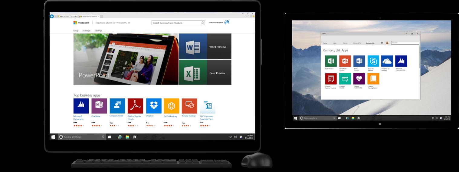 Der Windows Store für Unternehmen bietet neben einem Marktplatz auch zahlreiche Verwaltungsfunktionen. (Bild: Microsoft)