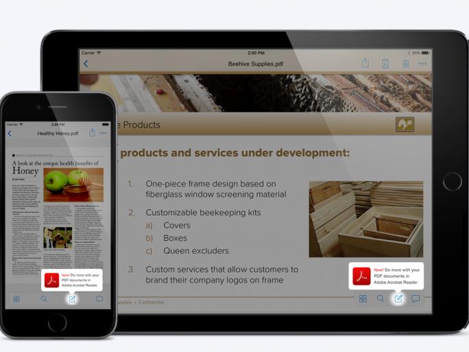 Dank einer Kooperation zwischen Adobe und Dropbox können über die iOS-App PDF-Dateien bearbeiten werden. (Bild: Dropbox)