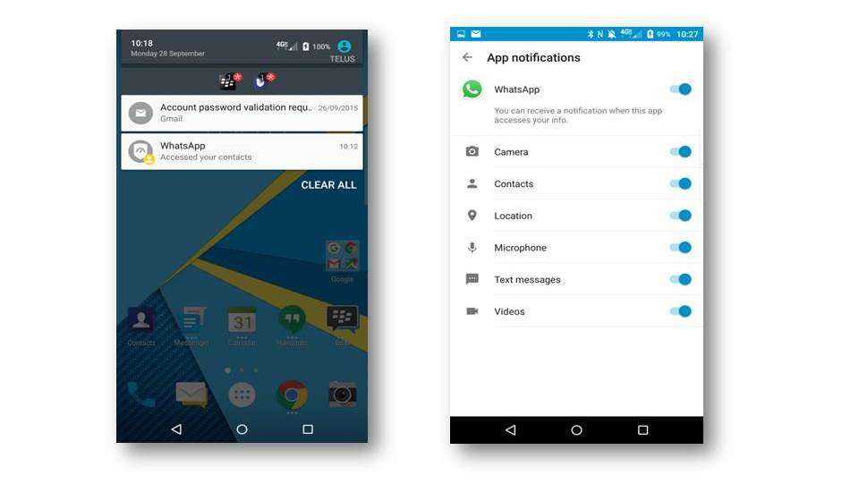 Auf dem Blackberrry Priv informiert die App DTEK über Zugriffe auf persönliche Daten - eine Kontrolle der Berechtigungen gibt es hingegen in der aktuellen Version nicht. (Bild: Blackberry)