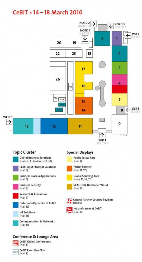 Der CeBIT-Gelände-Plan: Die Hallen 19 und 20 werden in diesem Jahr die Kundenkonferenz Salesforce World Tour beherbergen. (Bild: Deutsche Messe)