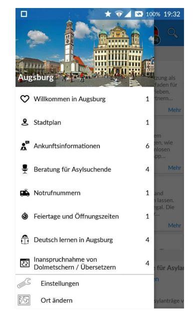 Integreat bringt verschiedene lokale und deutschlandweite Informationen für Flüchtlinge in einer App zusammen. (Bild: Integreat)