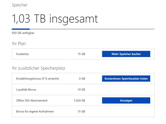 Office-365-Abonnenten erhalten künftig nur noch maximal 1 Terabyte OneDrive-Speicher. Auch der Bonus für eigene Aufnahmen und 10 der 15 kostenlosen GByte fallen weg. (Screenshot: ZDNet.de)