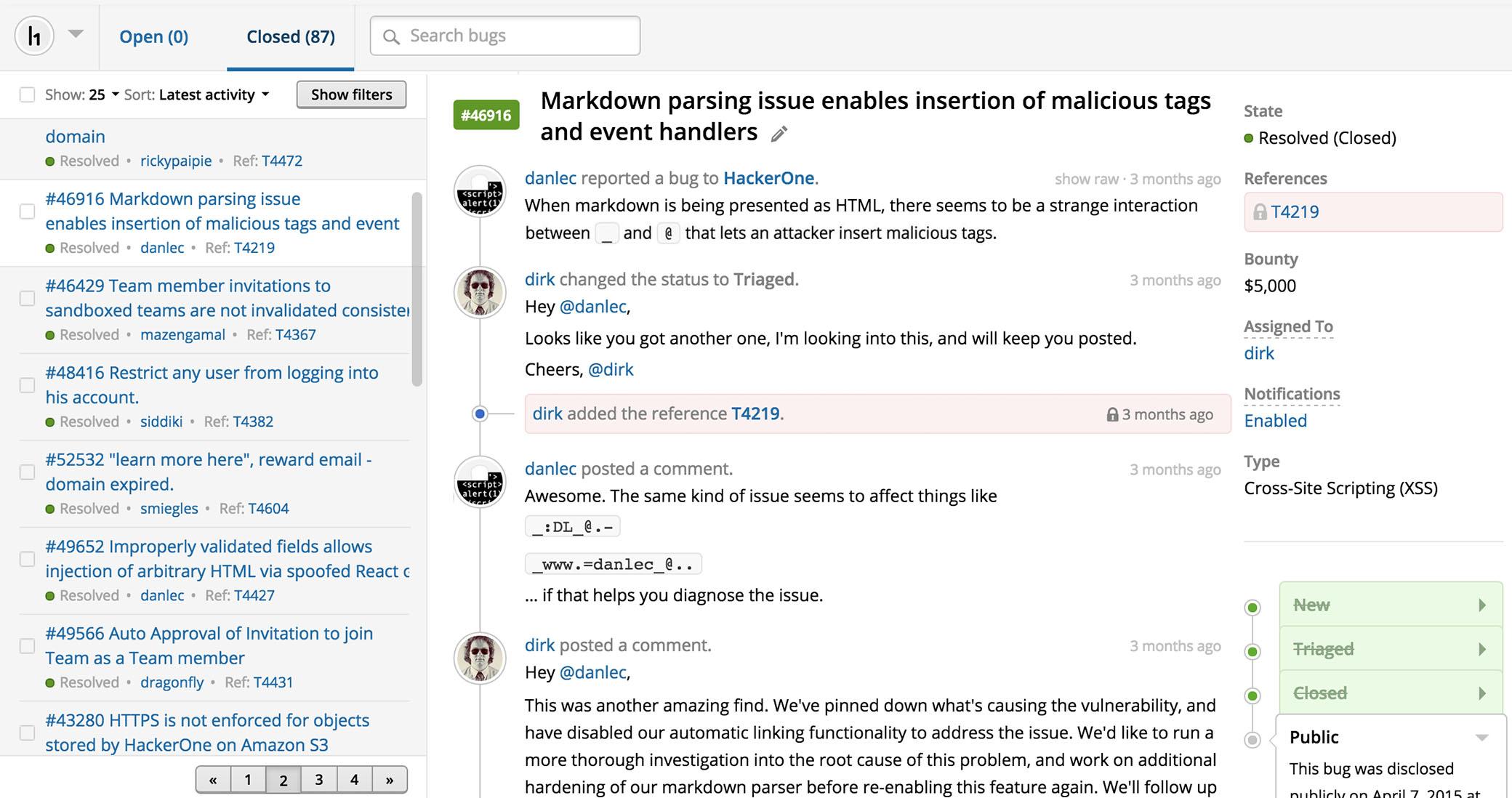 """HackerOne bietet ein SaaS-Tool für ein Vulnerability Management über das sich """"Hacker"""" über Lecks austauschen können. (Bild: HackerOne)"""
