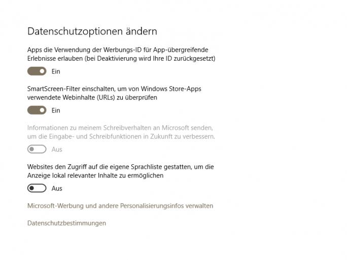 Das November-Update für Windows 10 hat Privatsphären-Einstellungen überschrieben. (Screenshot: ZDNet.de)
