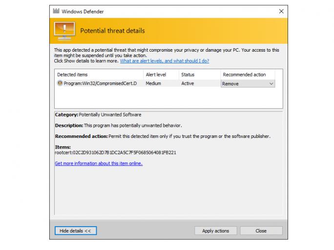 Mit der kostenlos in Windows enthaltenen Lösung Windows Defender lässt sich das gefährliche Dell-Zertifikat DSDTestProvider entfernen. (Screenshot: Ed Bott/ZDNet.com)
