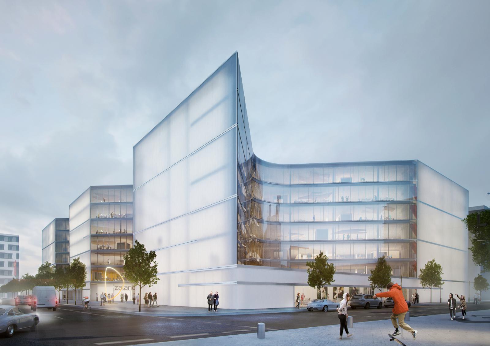 Der neue Zalando-Komplex in Berlin. Das Münchner Büro Gunter Henn hat den Bau bewusst mit längeren Wegen konzipiert, um die Vernetzung der Mitarbeiter untereinander zu verbessern. (Bild: Zalando)