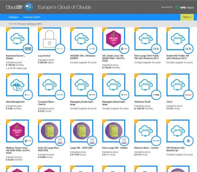 Zahlreiche Cloud-Services bietet der HPE-Cloud-Katalog Cloud28+. Mit dem föderal geführten App-Store will HPE die Bedürfnisse europäischer Anwender adressieren. (Screenshot: silicon.de)