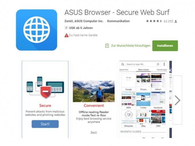 Google Play verzeichnet 63.000 Bewertungen des Asus Browser (Screenshot: ZDNet.de)
