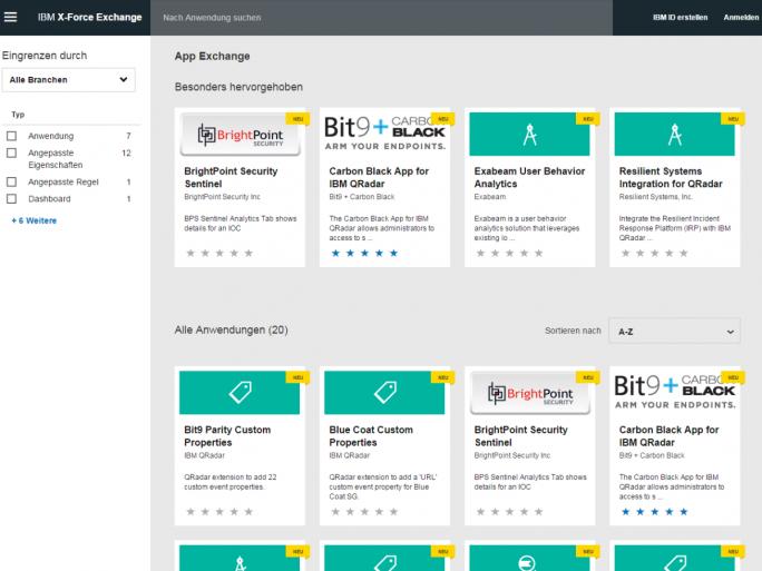 Im IBM Security App Exchange gibt es bereits zum Start einige Anwendungen, die auf der QRadar-Technik basieren. (Screenshot: ZDNet.de)