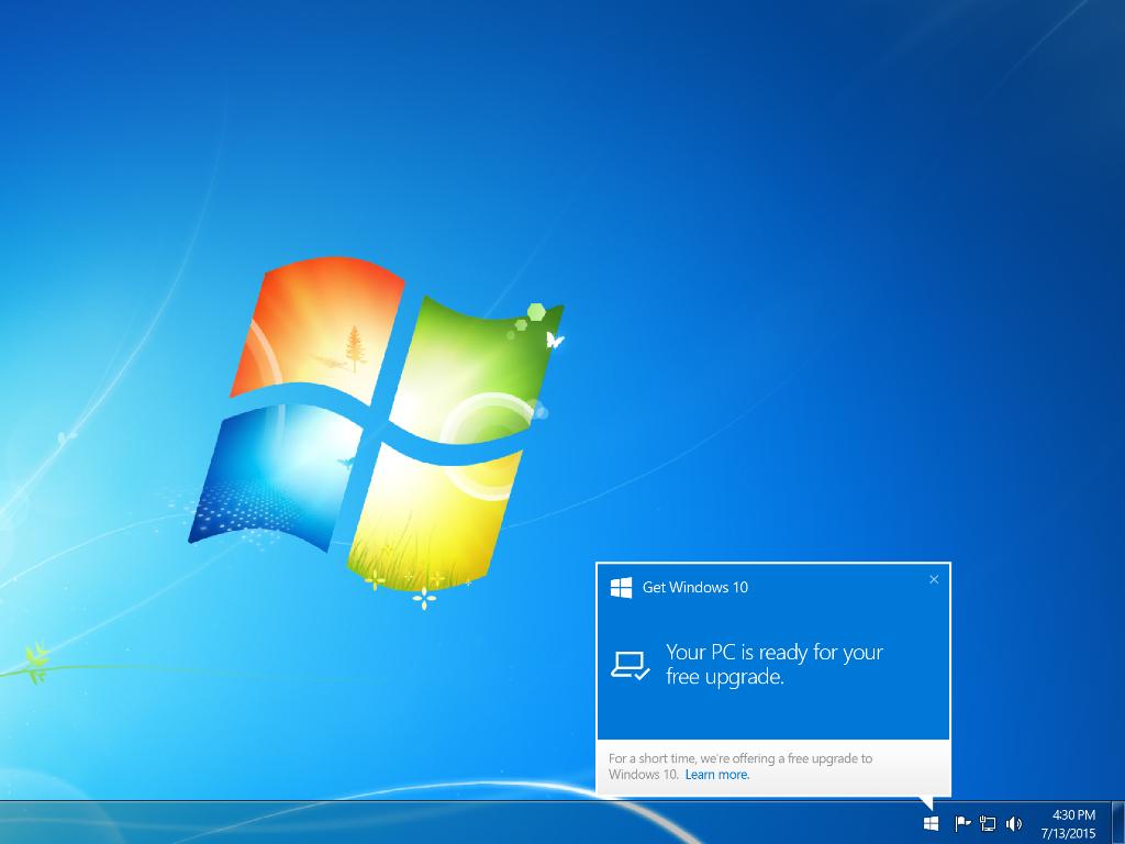 Erst runterladen, dann fragen: Windows benachrichtigt Nutzer erst, sobald das Upgrade auf Windows 10 zur Installation bereitsteht. (Bild: Microsoft)