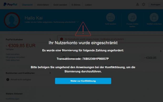 In der hochprofessionellen Phishing-Attacke sollen Nutzer die Zugangsdaten zu PayPal-Konten preis geben. Angeblich sollen sie eine Transaktion über 300 Euro stornieren. (Screenshot: silicon.de)