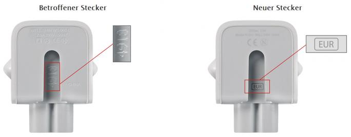 Über die Kennzeichnung in der Innenseite lässt sich feststellen, ob die Stecker ausgetauscht werden müssen. (Bild: Apple)