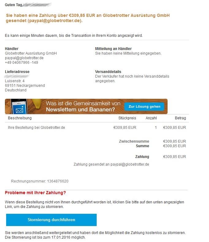 Phishing ohne Rechtschreibfehler. Die Nachricht, die angeblich von PayPal stammt, soll Nutzer dazu verleiten, ihre Konto-Daten weiterzugeben. Angeblich sei es noch bis zum 17.01.2016 möglich, die Transaktion zu stoppen. (Screenshot: silicon.de)