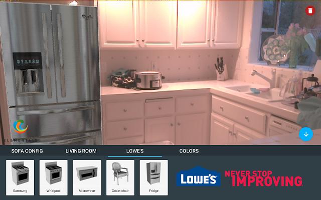 Project Tango: Über verschiedene Sensoren kann das Smartphone beispielsweise prüfen, ob ein Kühlschrank in eine Küche hineinpasst. (Bild: Google)