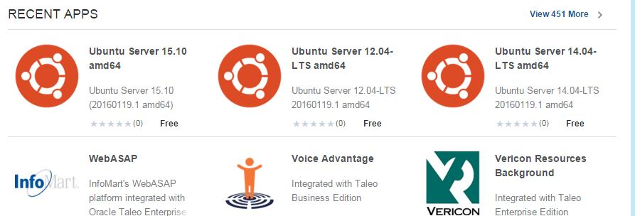 Die ersten Ubuntu-Images im Oracle Cloud Marketplace.