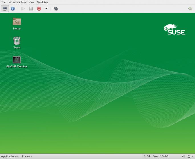 SUSE Linux Enterprise Server Service Pack 1 enthält auch einen Viewer für die grafische Konsole eines VM Guests. (Bild: SUSE)