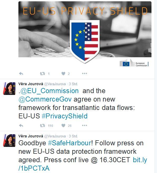 Vera Jourová präsentiert das neue Abkommen via Twitter. (Screenshot: ITespresso.de)