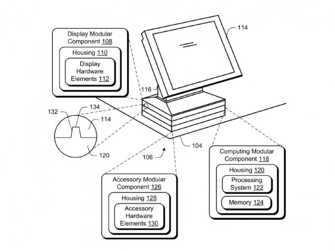 Das Microsoft-Patent sieht auch eine Basiseinheit mit Stapelmodulen vor (Bild: Microsoft/USPTO)