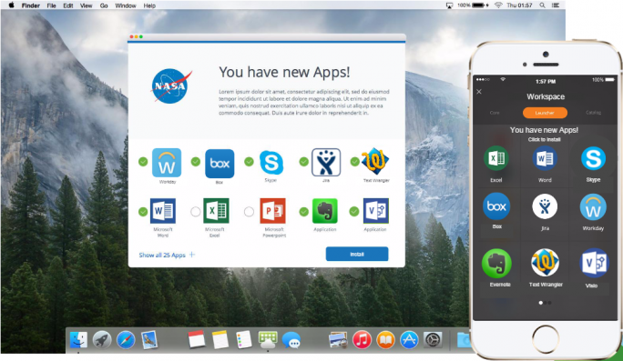 Workspace One erlaubt Anwendern den Zugriff auf einen personalisierten Unternehmens-App-Store. (Bild: VMware)