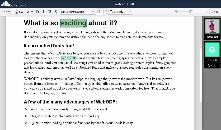 Dokumente in ownCloud bearbeiten. ownCloud unterstützt auch andere Open Source Anwendungen wie Music-Player oder LibreOffice. (Bild: ownCloud)
