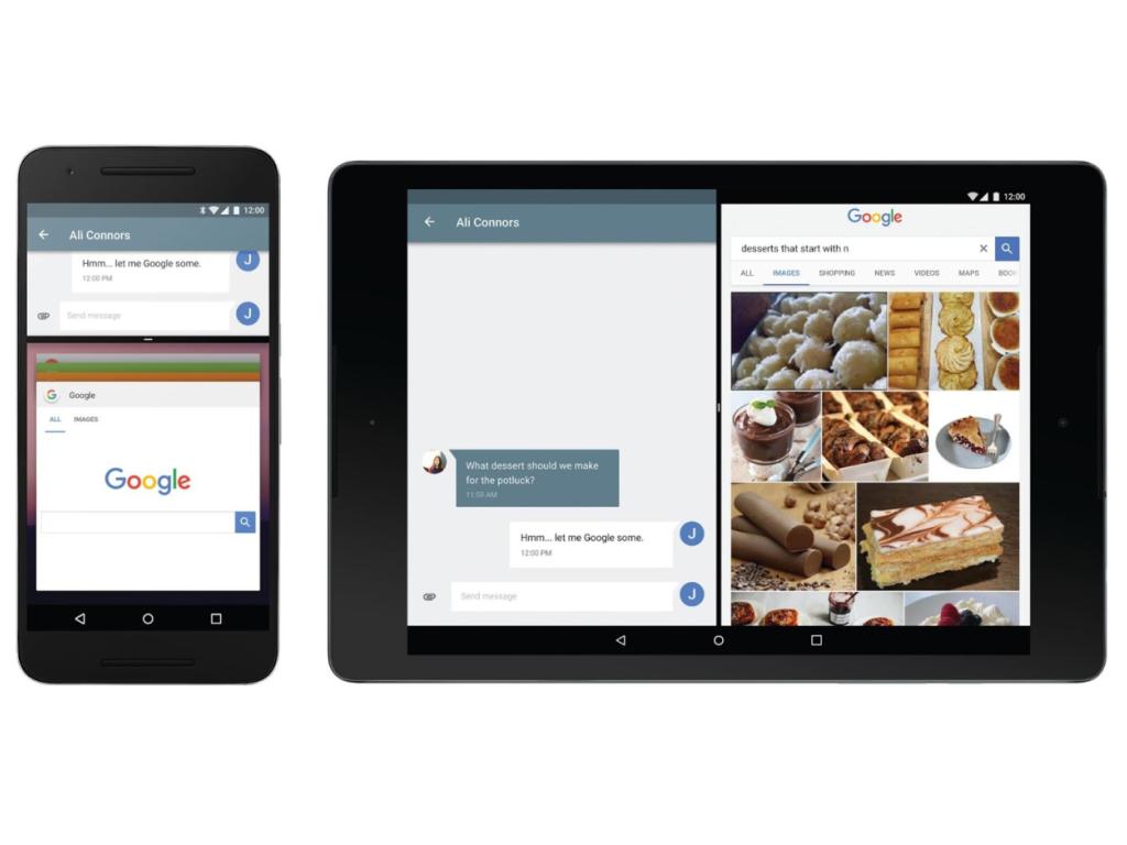 Eine Neuerung von Android N ist ein Multi-Window genannter Split-Screen-Modus. (Bild: Google)