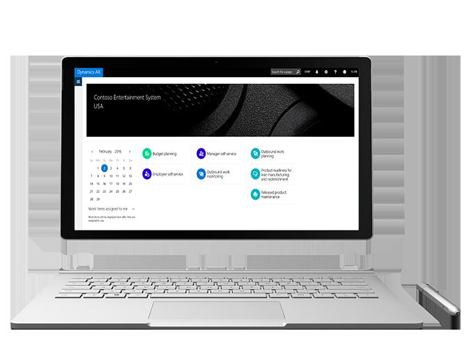 Dank einer neuen Oberfläche und der Tatsache, dass Microsoft Dynamics AX als Universal App konzeptioniert hat, lässt sich die ERP-Lösung auf jedem beliebigem Windows-Endgerät wie etwa auf einem Surface Book nutzen. (Bild: Microsoft)