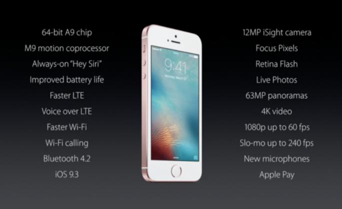 Die wesentlichen technischen Spezifikationen des iPhone SE bieten keine echten Überraschungen (Bild: CNET.com).