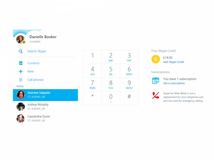 Nutzer von Skype for Web können nun auch Festnetz- und Handynummern anrufen (Bild: Microsoft).