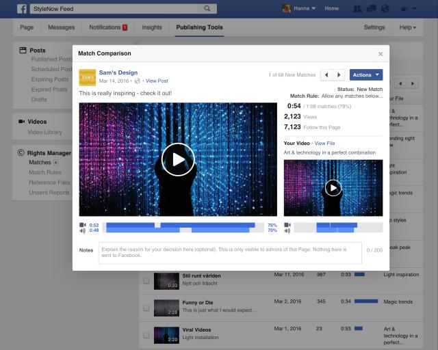 Im Rahmen des Right Manager bietet Facebook Rechteinhabern auch die Möglichkeit zu kontrollieren, ob die Prüfalgorithmen richtig funktioniert haben und Videos tatsächlich übereinstimmen (Screenshot: Facebook).