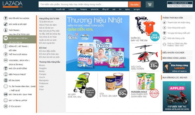 Homepage von Lazada in Vietnam (Screenshot: silicon.de)
