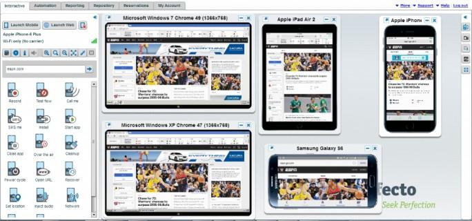 CQL erlaubt plattformunabhängige Scripting von Web-Applikationen auf verschiedenen Browser/Betriebssystem-Kombinationen sowie auf Kombinationen aus echten Mobilgeräten und Betriebssystemen (Screenshot: Perfecto Mobile).
