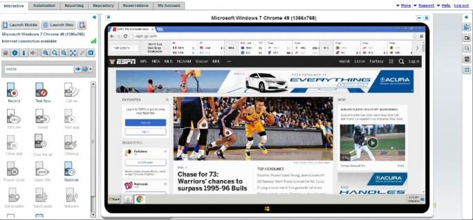 Mit der aktuellen Version von Continuous Quality Labs können für App-Tests nun auch Desktop-Browserumgebungen simuliert werden (Screenshot: Perfecto Mobile).